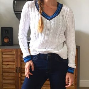 Varsity Cable Knit V-Neck Sweater